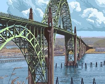 Newport, Oregon - Yaquina Bay Bridge (Art Prints available in multiple sizes)