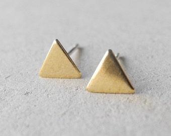 Triangle Stud Earrings, Minimal Earrings, Geometric Jewelry, Unisex Earrings, Golden Brass, Sterling Silver Hypoallergenic Earrings (E196)