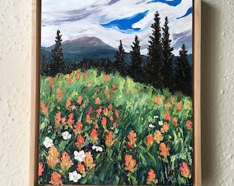 Indian Paintbrush Meadow  - framed original oil painting