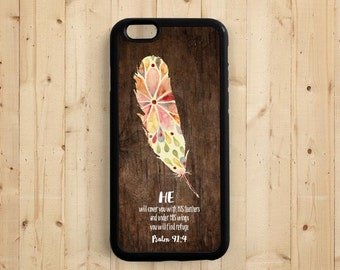He will cover you with his feathers Psalm 91:4, Bible Verse Quote, iPhone 7 5s 5c 5 6 Plus Case, Galaxy S4 S5 S6 Case, Samsung Note 3 4 Qt63