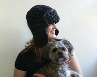 Aviator Hat in Charcoal Gray. Chunky. Handknit. Girls. Women. Teens.