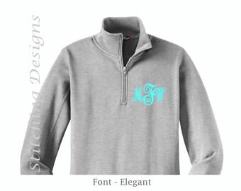 Quarter Zip Sweatshirt, Monogram Pullover, Monogram Sweatshirt, LADIES, Sizes XS - 4X, 9 Colors available