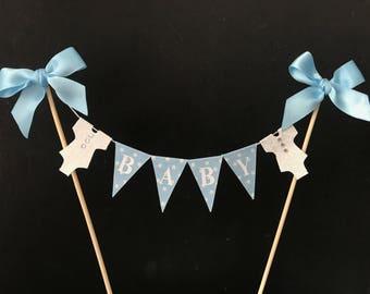 Baby shower cake topper, baby boy cake banner, birthday boy cake bunting, cake flags, blue cake decoration