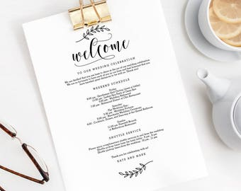 Wedding Welcome Thank You Letter and Itinerary Printable Template,  DIY Wedding Welcome Bag Letter Instant Download Rustic Elegance #REC