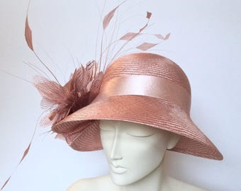 Kentucky Derby Hat Pink Straw Hat Dusty Pink Hat Church Pale Pink