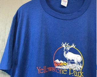 XL * thin vintage 80s 1982 Yellowstone Park Wyoming t shirt