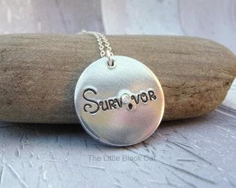 Survivor Semi Colon Necklace, Motto Necklace, Health Jewellery, Swarovski Pendant, Strength Pendant, Womens Gift, For Her, Ladies Present