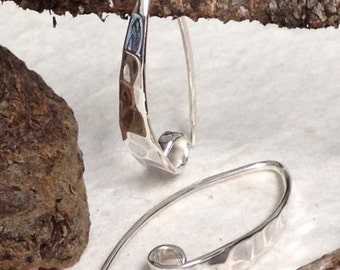 NEW Rustic Sterling Silver Hammered Ear Wires - Artisan Design - E69