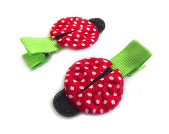 Ladybug Hair Clips Red Ladybugs Polka Dot Hair Clips Lime Green Hair Clips Baby Girl Hair Clips Baby Girl Clips Spring Hair Clips Summer