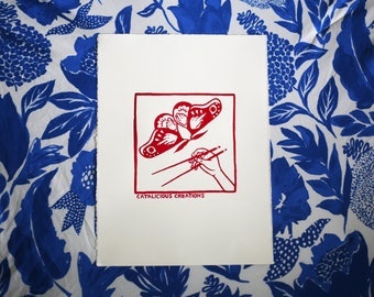Red Moth Print