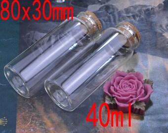 10 small glass bottles with corks, empty glass bottles with cork, small glass bottle pendant, mini glass jars, glass vials bulk 30x80mm