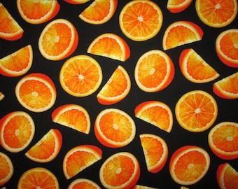 Orange Slices Realistic Fruit Black Cotton Fabric Fat Quarter Or Custom Listing