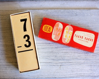 IDEAL Subtraction Flash Cards : vintage school supply