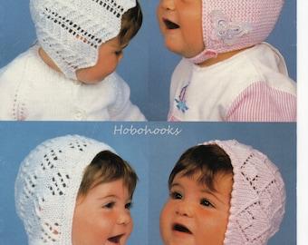 Baby lacy bonnets knitting pattern pdf download baby hats knitting pattern in 4 styles 3-9 months DK baby knitting pattern instant download