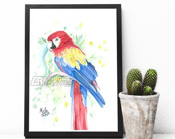 Macaw Watercolor Painting Print
