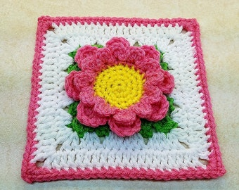 "Crochet Perfectly Pink 6"" Flower Granny Square Pattern DIGITAL DOWNLOAD ONLY"