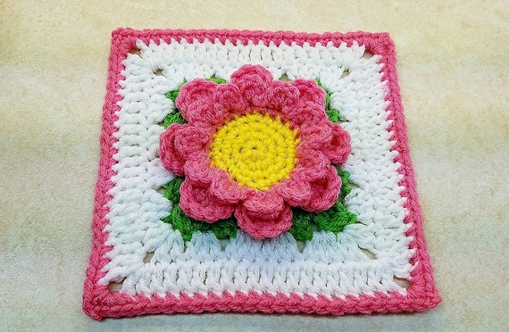Crochet Perfectly Pink 6 Flower Granny Square Pattern Digital Download Only