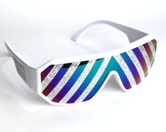 Rasslor White Inverted Silver Rays Shield Sunglasses