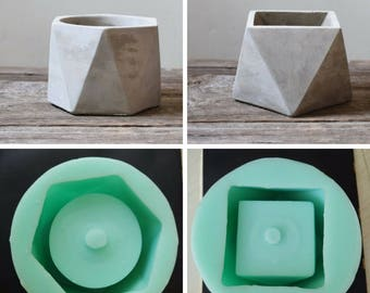 Silicone Mold Geometric flower pots Concrete Cement 3D vase handmade Vase flower pot molds