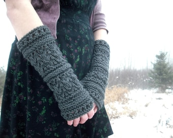 Fingerless Gloves, Knit Fingerless Gloves, Gothic Arm Warmers, Wrist Warmers, Arm Warmers, Hand Knit Gloves, Knitted Gloves, Charcoal Grey