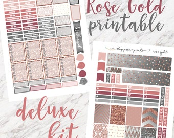 Rose Gold Deluxe PRINTABLE Sticker Kit / Fits Erin Condren Vertical Life Planner