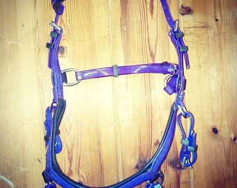 Purple  Biothane  bridle  bitless sidepull Pony, cob and full sizes with reins