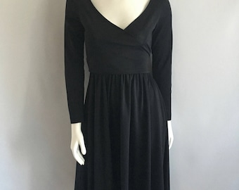 Vintage Women's 70's Black, Ballerina Dress, Polyester, Knee Length (S)