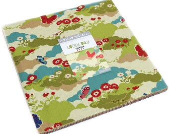 """Spring Time Fabric, Woodland Fabric - Lucky Day by Momo for Moda Fabrics - Layer Cake (42) 10"""" inch squares"""
