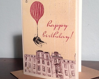 Flying Shoes Happy Birthday - Gocco Printed Hot Air Balloon Art Card
