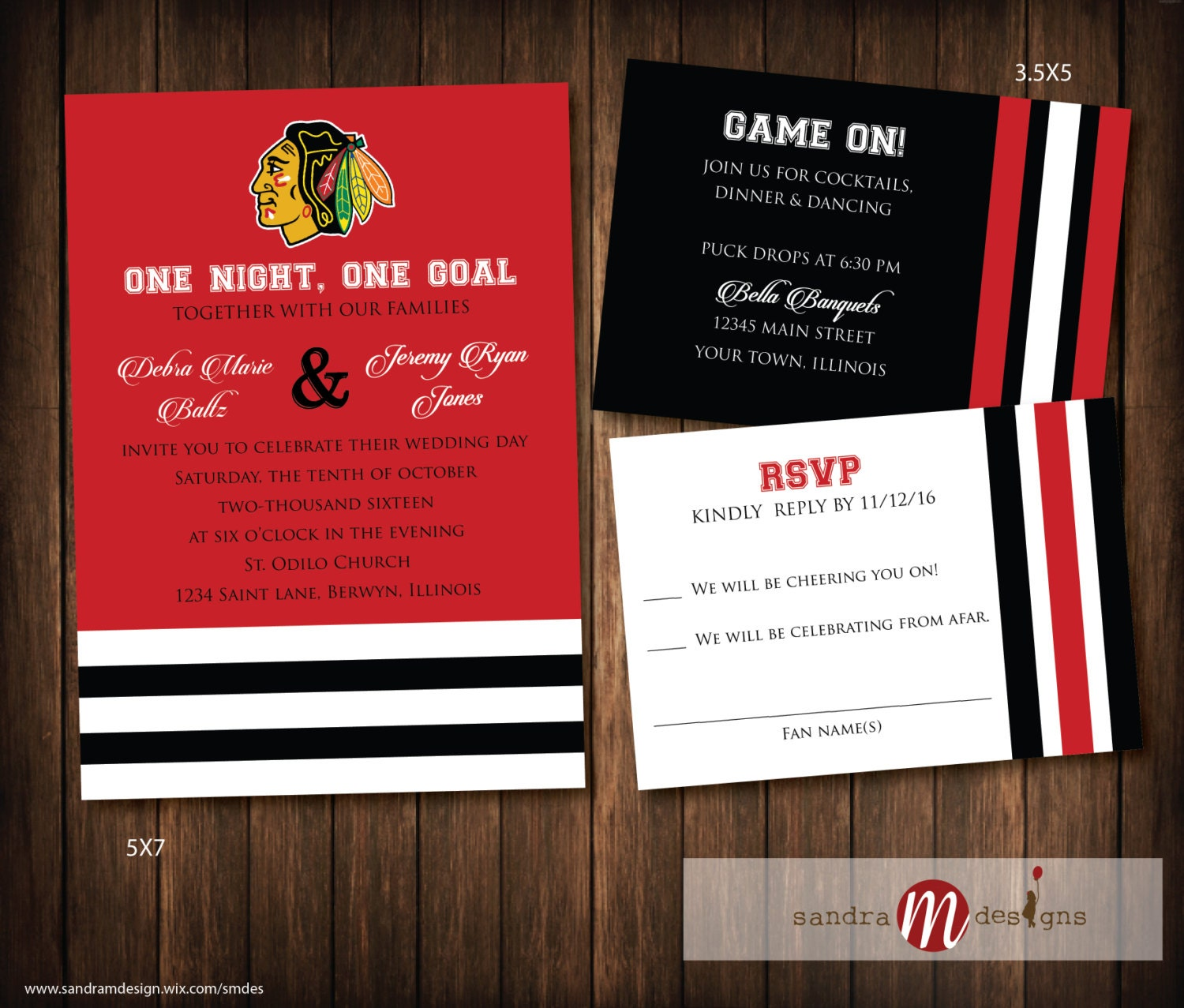 Chicago Blackhawks Hockey Wedding Invitations Hockey