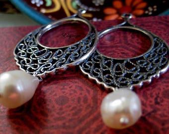 Mexican filigree etsy boho hoops mexican lace filigree chandelier earrings arracadas de plata con perlas pearl mozeypictures Images