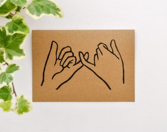 Pinky Promise Print Greetings Card/Kraft Card prints/Greeting Cards/Lino Print Cards/Block Prints Card/ A6-C6/