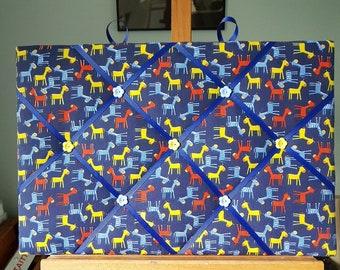Pin Board / Pinboard / Memory Board  / Memo Board / Notice Board - Colourful Donkeys / Horses