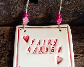 Fairy Garden Sign, Black and White, Ceramic Handmade with Beads and Natural Twine