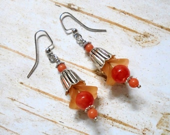 Peach and Coral Flower Earrings (2849)