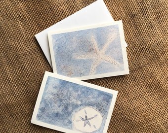 Watercolor Note Cards, Sand Dollar Note Cards, Watercolor Cards, Set of 2 Nautical Note Cards, Beach Thank You Card, Beach Stationary,