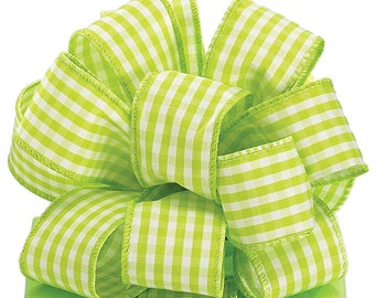 """NEW 1-1/2"""" Wired Gingham Ribbon, 2 yards Lime Gingham Ribbon, Cottage Chic Ribbon"""