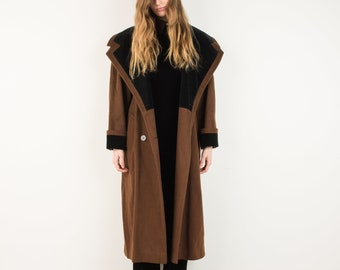 VINTAGE COLOR BLOCK Oversized Brown and Black Wool Coat / S / hipster jacket coat womens outerwear overcoat oversized coat bronze