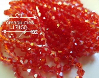 Rosary of 118 red 4mm bicone ab faceted glass beads