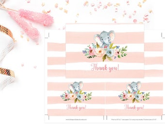 Elephant Baby Shower Thank You Card, Girl Baby Shower Thank You Card, Elephant Baby Shower Pink Stripes Thank You Card - INSTANT DOWNLOAD