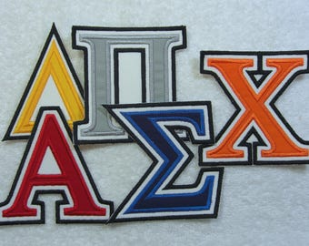 4 Inch Double Greek Letter/Monogram Fabric Embroidered Iron On Applique  Patch MADE TO ORDER