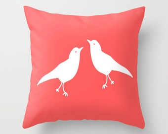 Love Birds Pillow Cover, Choose Color, Pink Pillow, Coral Pillow, couples pillow, valentines day gift, Spring pillow, easter decor