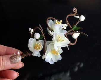 Cream Cherry Blossom Boutonniere, Groom Buttonhole, Men's Lapel Pin, Prom, Flower Boutonniere, Groom Corsage Pin, Cream Wedding Boutonniere