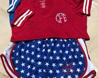 Monogrammed Youth Red and Blue Patriotic Athletic Short Sleeve V-Neck T-Shirts / Youth Red White Blue Athletic Shorts