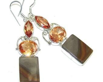 Wild Horse Jasper, quartz Sterling Silver Earrings - weight 12.90g - dim L -2 3 8, W -1 2, T -1 4 inch - code 20-sty-16-40