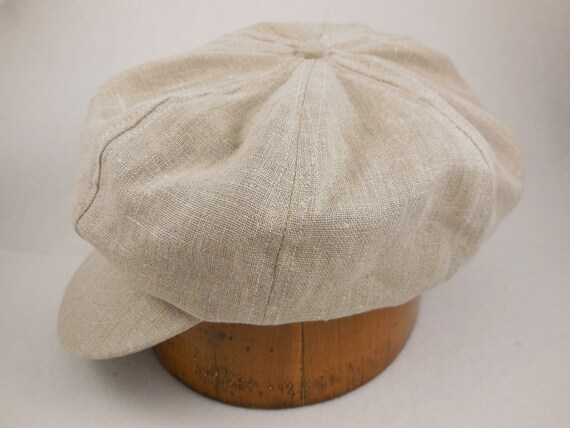 Hand crafted, custom made, linen 8 panel baggy cap, long or short visor, adjustable or fitted with cotton or leather sweatband.