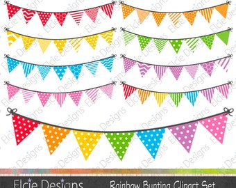 Rainbow Bunting Clipart Set