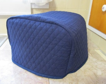 Navy Blue Toaster Cover 4 Slice Kitchen Quilted Fabric Small Appliance Cover Ready to Ship Next Business Day