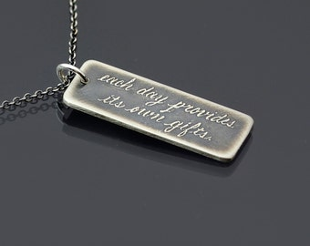 Each Day Provides Its Own Gifts Necklace, Sterling Silver Marcus Aurelius Quote