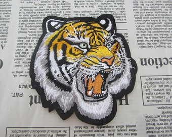 Embroidered Tiger Head Iron On Patches